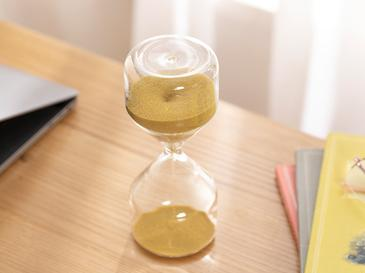 Natural Пясъчен Часовник Стъкло 7x7x17 cm Кафе