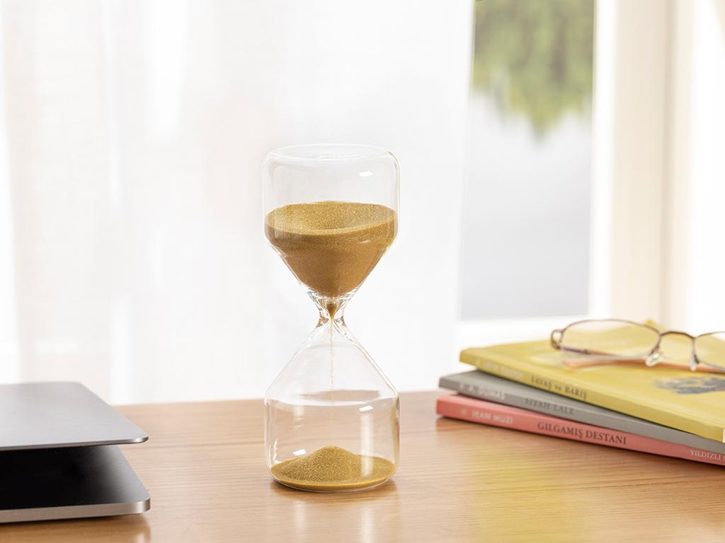 Glass Hourglass 7x7 Cm Kahve