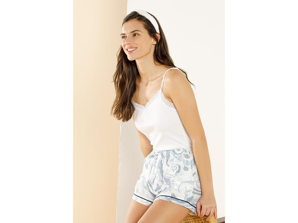 Viscose Shorts Xl Beyaz - Mavi