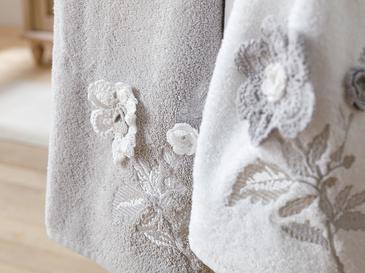 Lacy Rose 2 Броя Апликирана 50x76 Cm Бяло-сиво