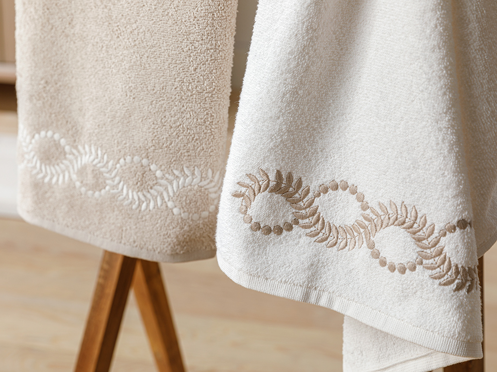 Chain Embroidered 2 Set 50x80 Cm Ecru-beige
