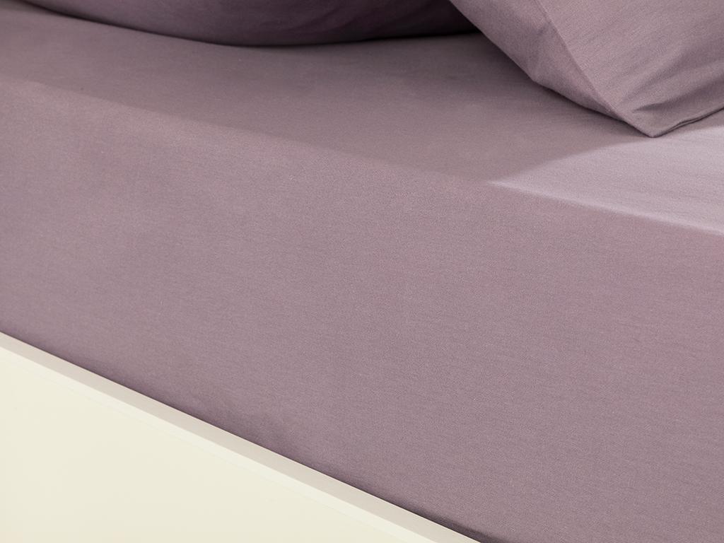Plain Cotton Double Person Fıtted Sheet Set 160x200 Cm Lilac,