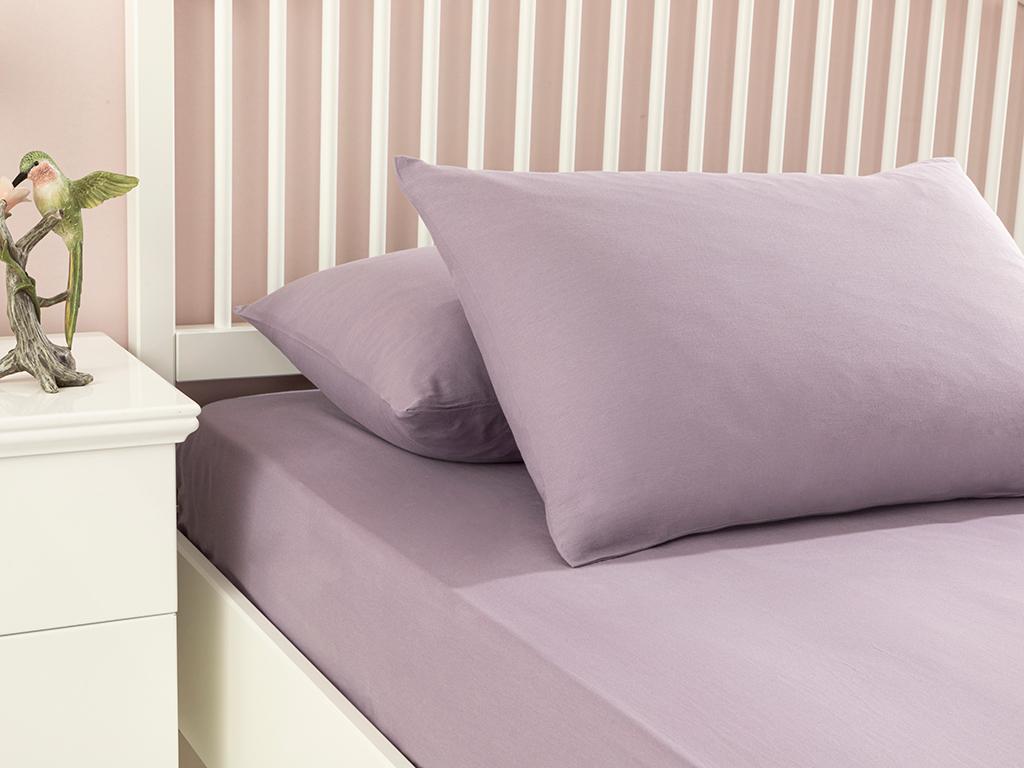 Plain Cotton For One Person Fıtted Sheet Set 100x200 Cm. Lilac,
