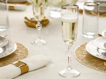 Puget Чаша 2 Броя Шампанско Стъкло 15,8x14,3x20,5 Cm Злато