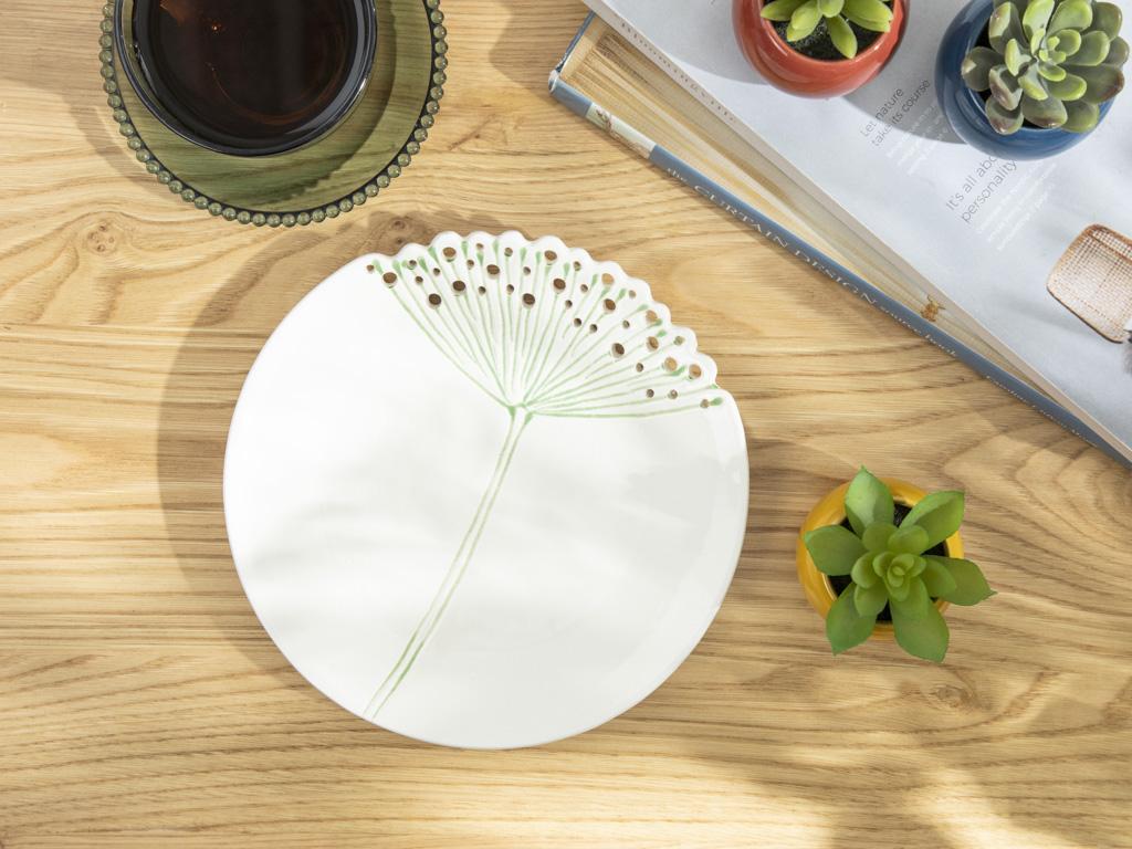 Dandelion Decoratıve Plate Bej