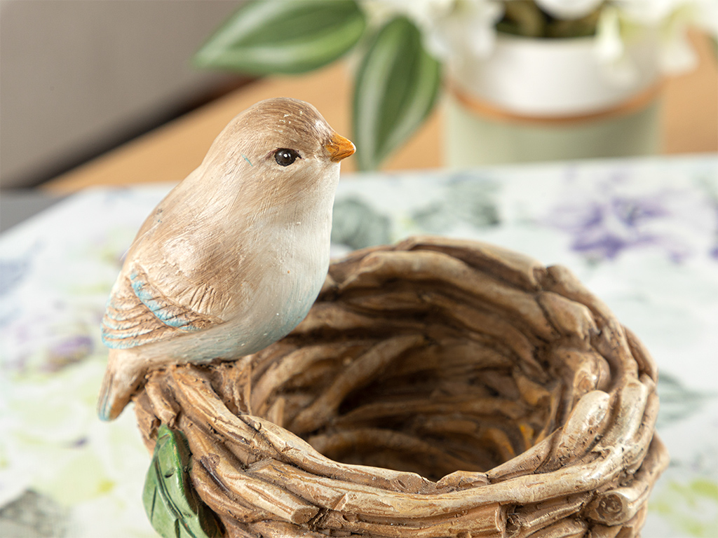 Happy Bird Decorative Object 10x10x12,5 Cm. Kahve