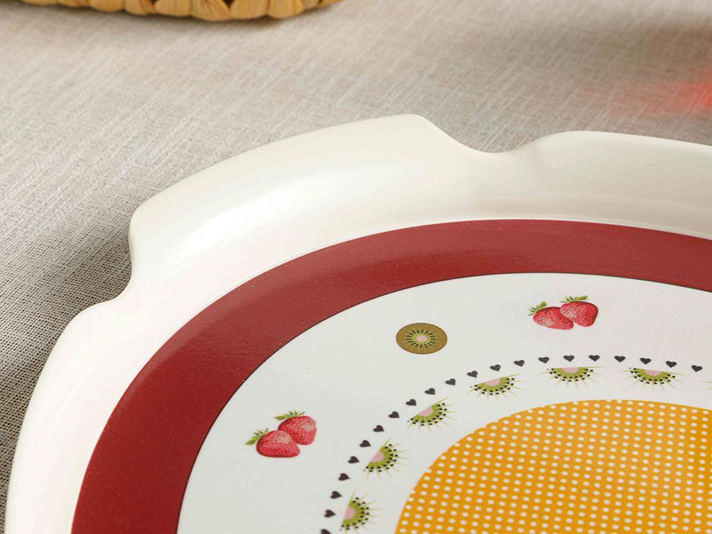 Cherry Melamine Oval Shaped Tray 43x29 Cm Beyaz - Lacivert