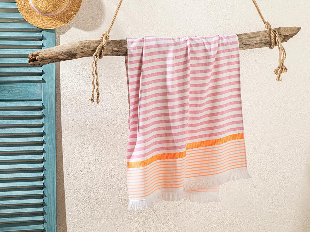 Striped Beach Towel 70x140 Cm. Pembe - Turuncu