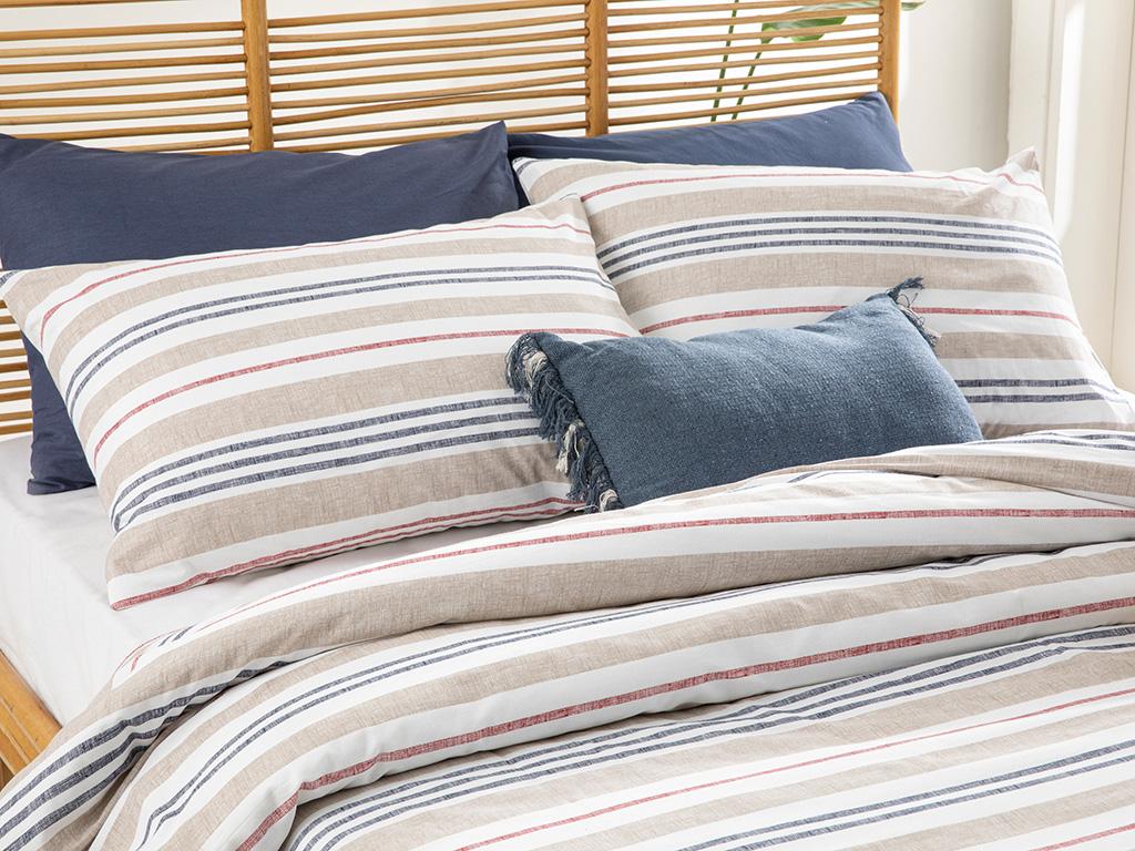 Modern Stripe Cottony For One Person Duvet Cover Set Pack 160x220 Cm Beige