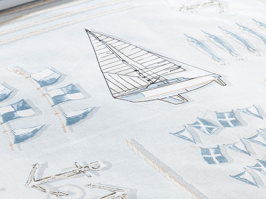 Ahoy Captain Cottony Super King Duvet Cover Set Pack 260x220 Cm Blue
