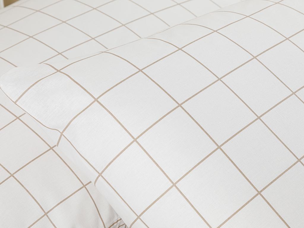 Plain Check Kombin Cottony 2 Set Pıllowcase 50x70 Cm White - Beige