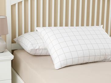 Plain Check Калъфка за Възглавница 2 Бр 50x70 См Бяло-Бежово