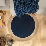 Round Jute Rug 90 Cm Dark Blue