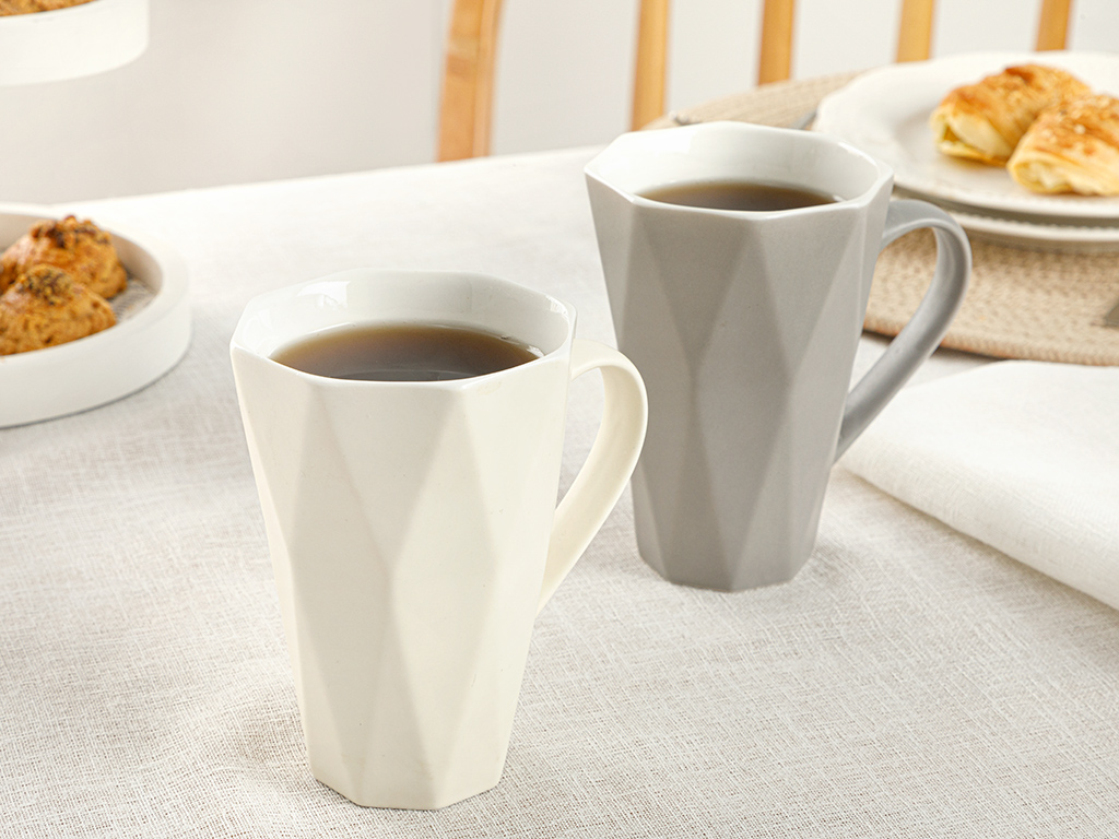 Talia New Bone Set Cup 2 Piece 290x300 Cm White-Gray