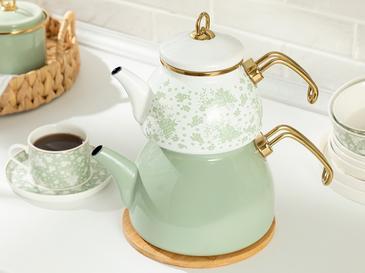 Чайник Емайлиран Бяло- Зелено