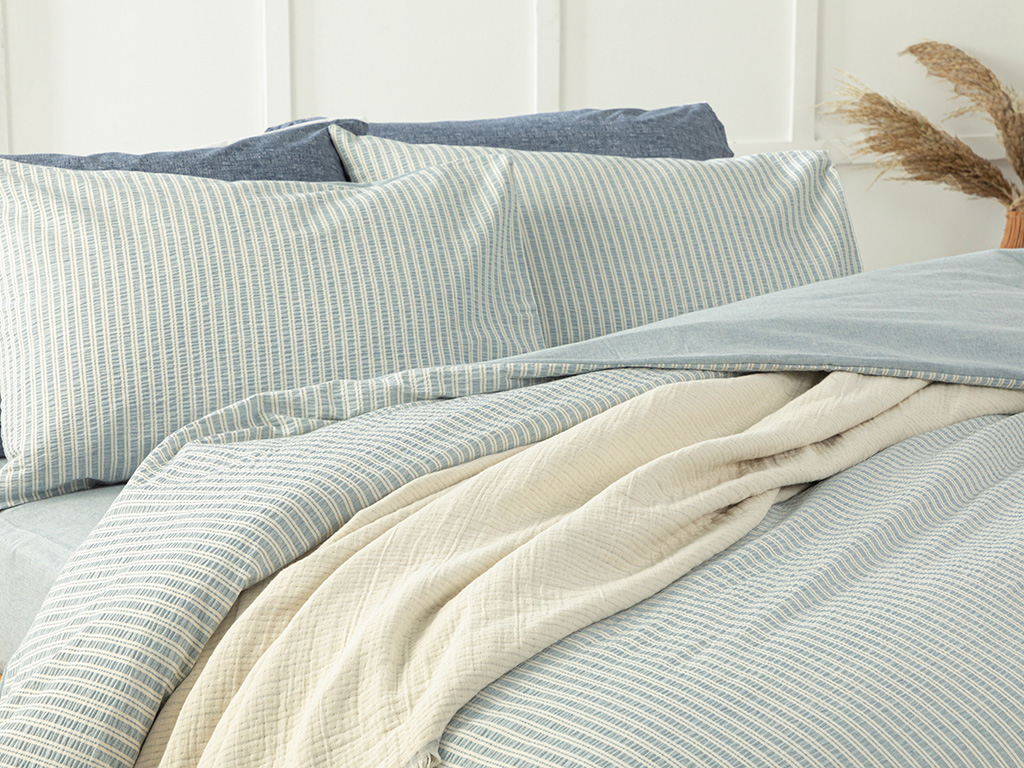 Curly Seersucker For One Person Duvet Cover Set 160x220 Cm Blue