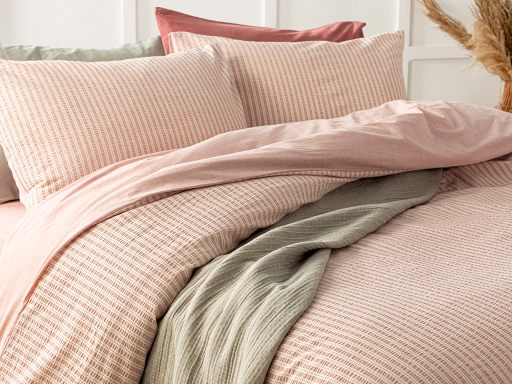 Curly Seersucker King Size Duvet Cover Set 240x220 Cm. Pink