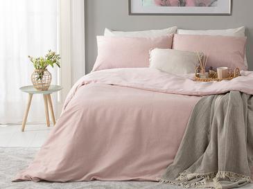 Спално Бельо Компле Единични Боядисана Нишка 160x220cm Розов