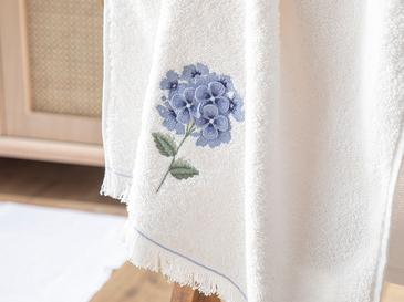 Hydrangea Garden Хавлия За Лице Апликирана 50x76 Cm Екрю-синьо