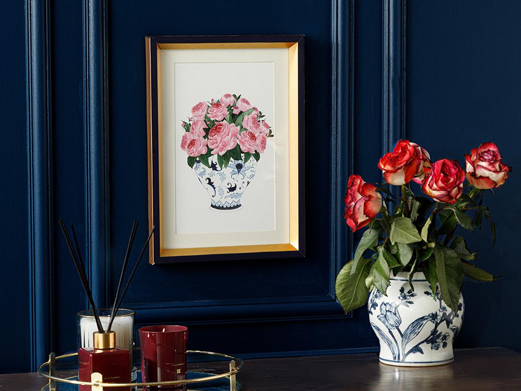 Rose Bouquet Paıntıng 25x35 Cm Blue-white