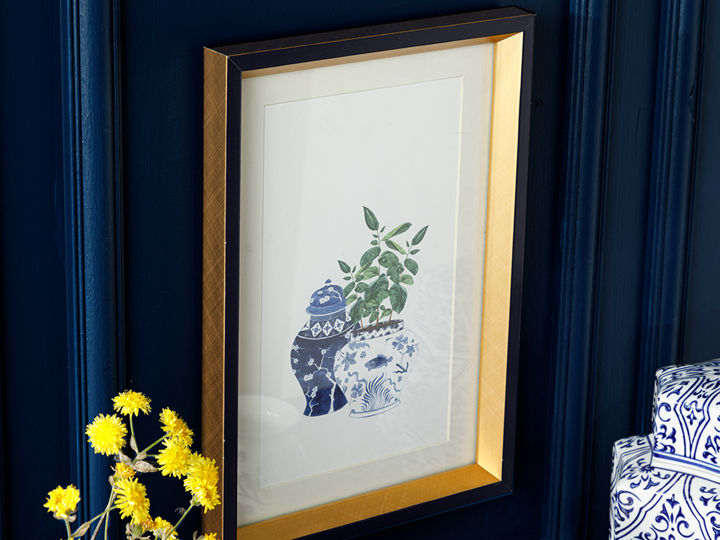 Leafy Paıntıng 25x35 Cm Blue-white