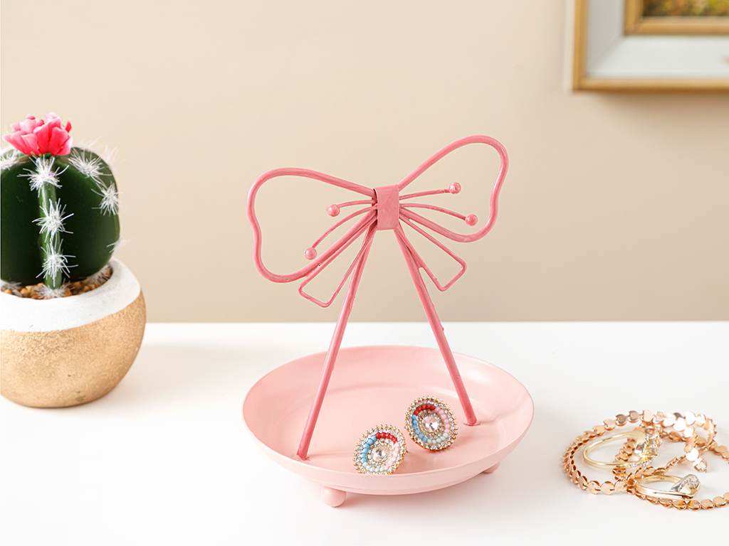 Pink Ribbon Jewelry Holder 7,5x18,0x4,0 Cm Pink