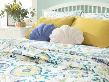 Chrysant Пике-Лятно Одеяло Единичен Размер 150x220 См Синьо