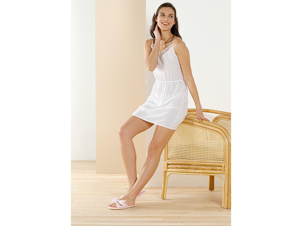 Bride Viscose Nıght Robe S Beyaz