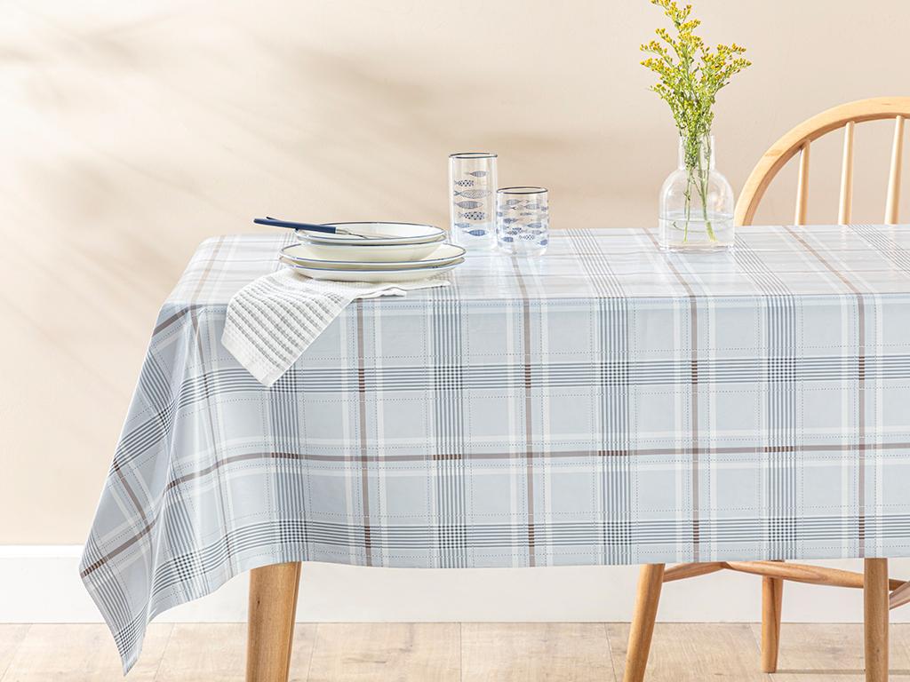 Line Puff Table Cloth 140x140 Cm Gri