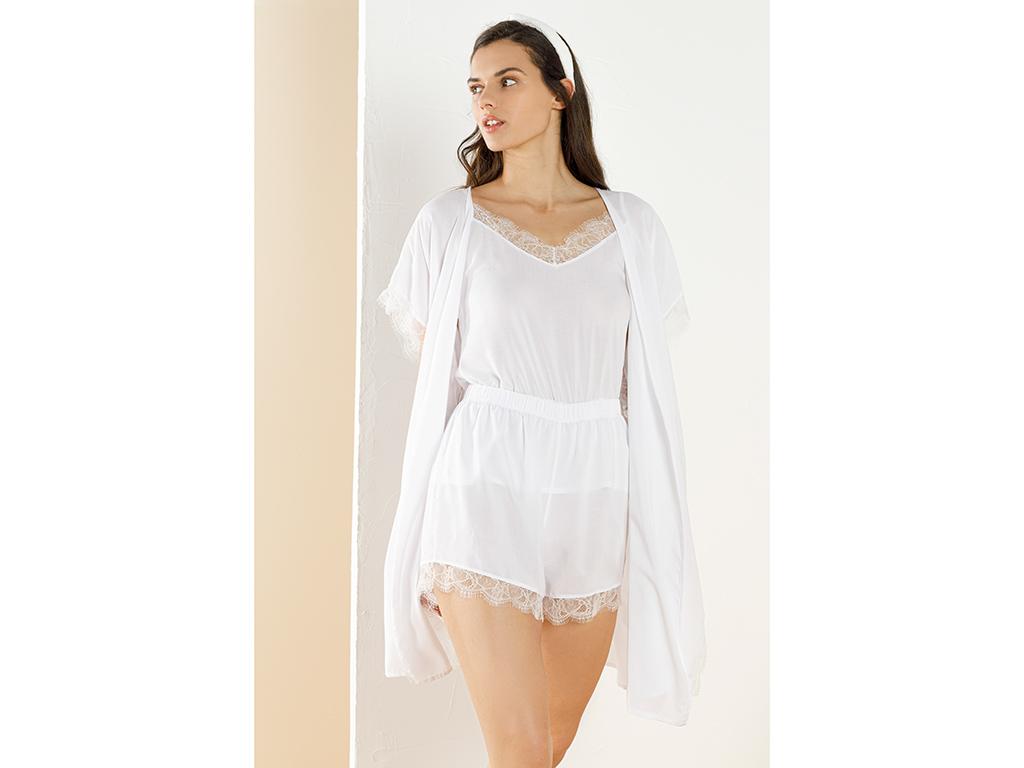 Bride Viscose Shorts Set L Beyaz