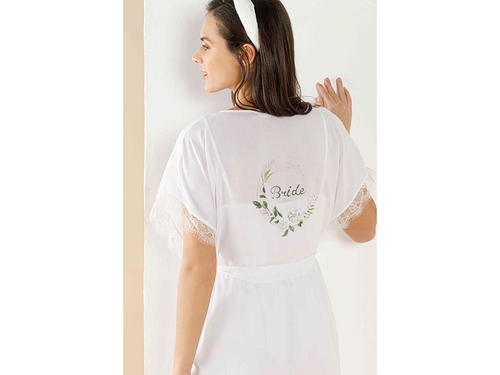 Bride Viscose Dressıng Gown S-m Beyaz