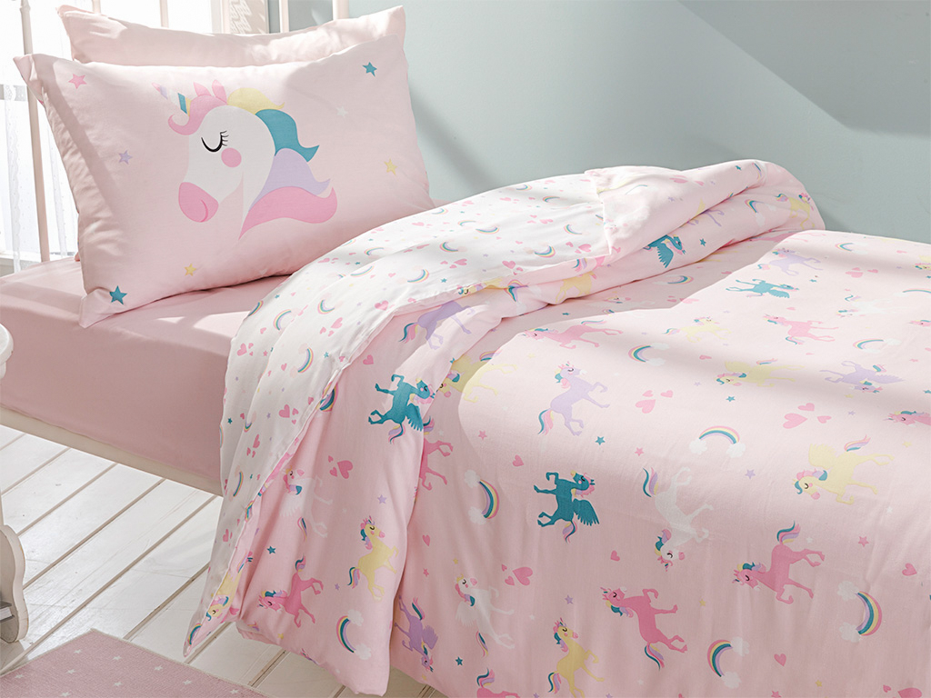 Unicorns Комплект Детско Спално Бельо 160x220 См Розово