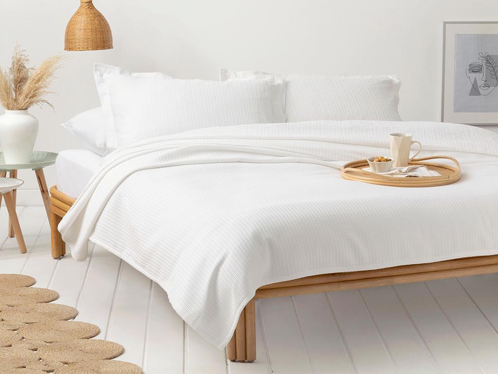 Dikdortgen Cotton For One Person Summer Blanket 160x140 Cm Beyaz