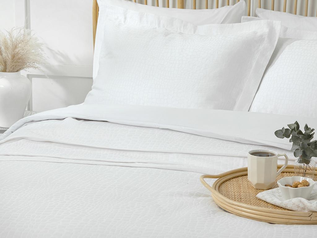 Nature Jacquard Weave King Size Summer Blanket Set Beyaz