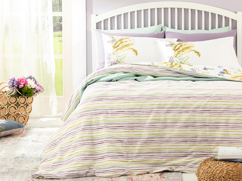 Hyacinth Cottony For One Person Duvet Cover Set Pack 160x220 Cm Lilac,