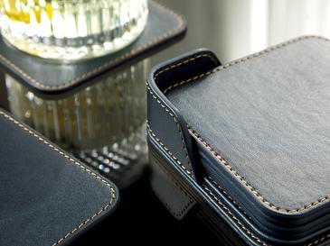Leather Подложка за Чаша 6 Бр. 10x10 См Тъмносиньо