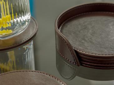 Leather Подложка за Чаша 6 Бр. 10 См Кафяво