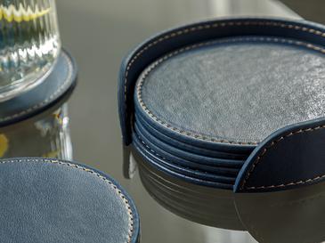 Leather Подложка за Чаша 6 Бр. 10 См Тъмносиньо