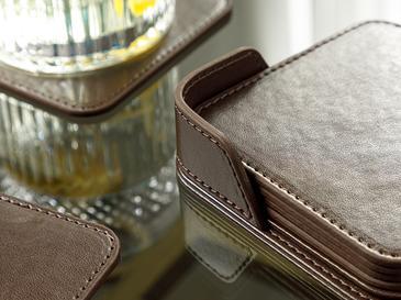 Leather Подложка за Чаша 6 Бр. 10x10 См Кафяво