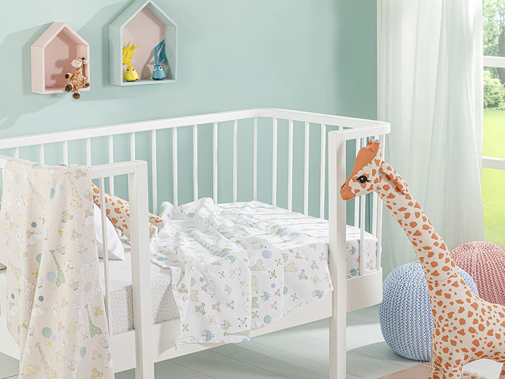 Mini Giraffe Printed Baby Summer Blanket 100x150 Cm. Beige