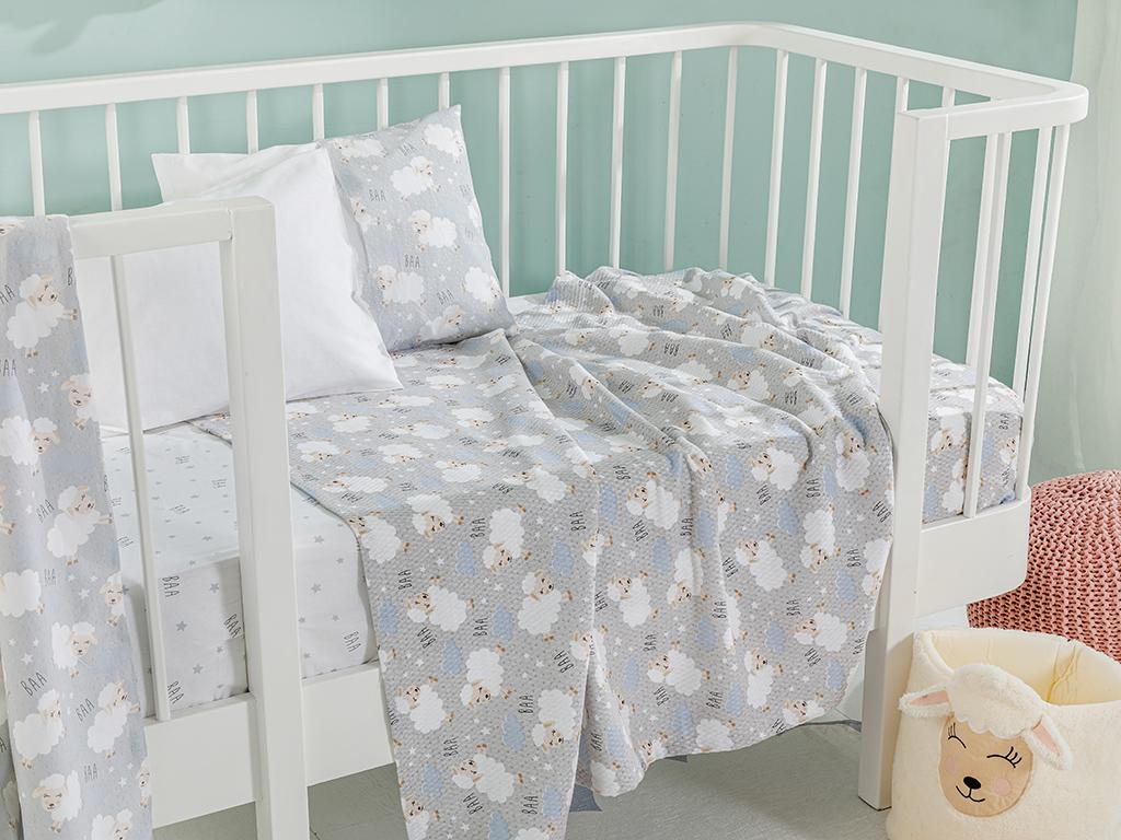 Little Lamb Printed Baby Summer Blanket 100x150 Cm. Grey
