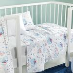 Little Whale Printed Baby Summer Blanket 100x150 Cm. Blue