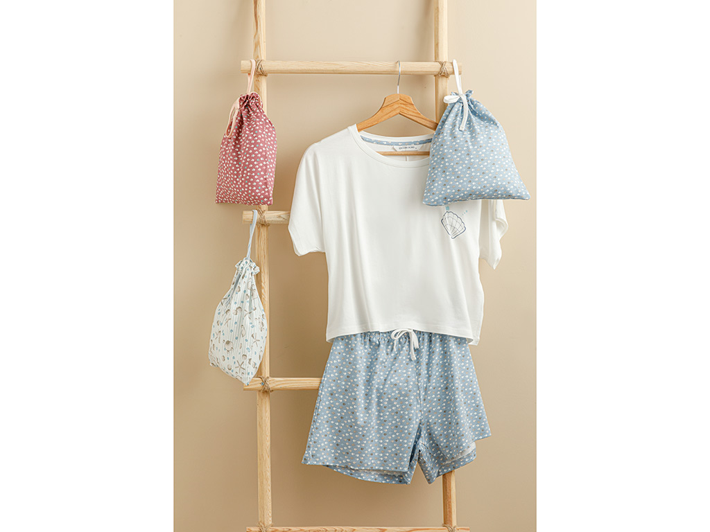 Sea Shell Viscose Pouched Shorts Set S Açık Mavi