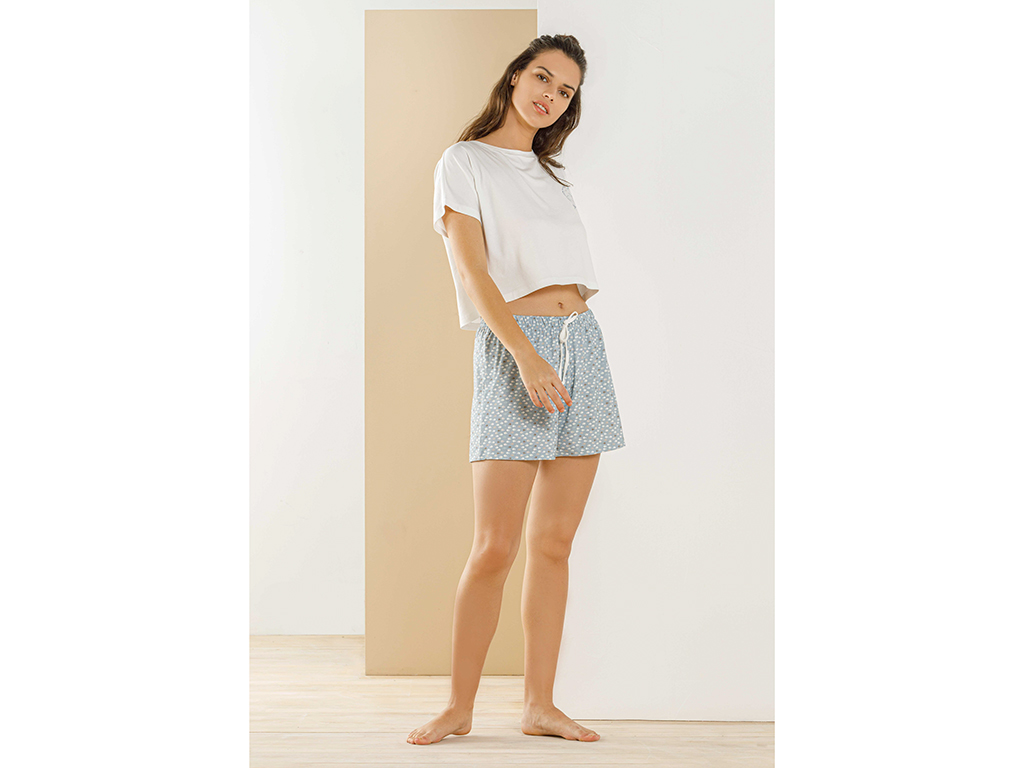 Blue Fish Viscose Pouched Shorts Set L Mavi