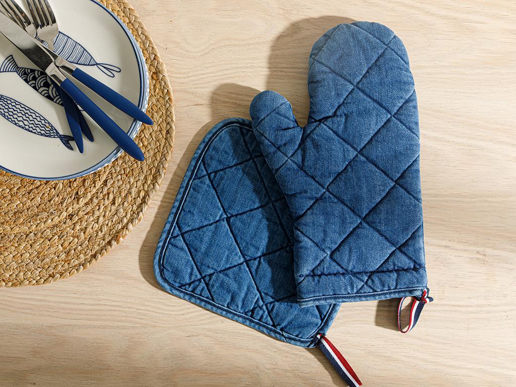 Cotton 2 Set Kıtchen Set 20x20 - 19x30 Cm Indigo
