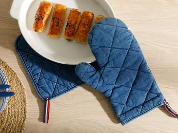 Кухненски Комплект 2 Броя Памучен 20x20 - 19x30 Cm Индиго