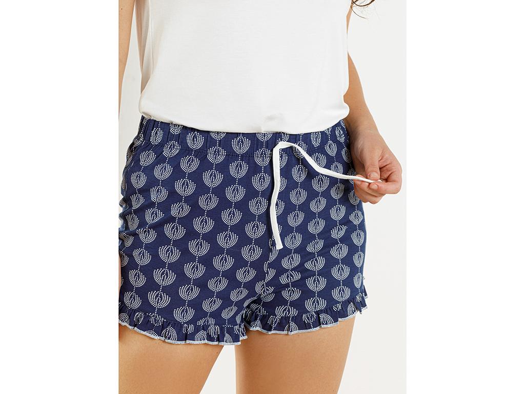 Lacey Viscose Shorts Set L Beyaz - Lacivert