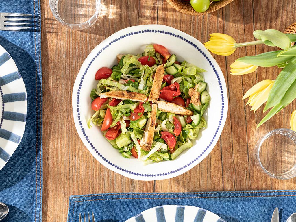 Porcelain Salad Bowl 25 Cm White-blue