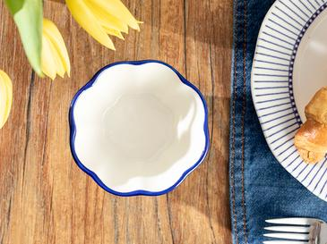 Clover Blue Съд За Ядки Порцелан 10 Cm Бяло-синьо