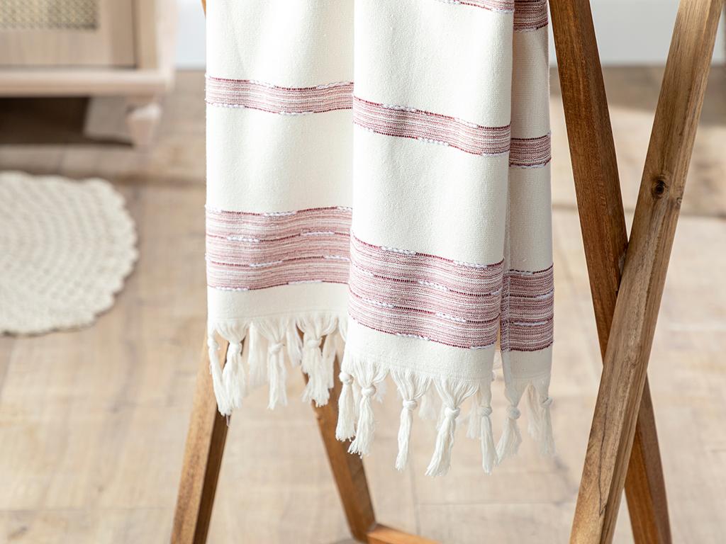 Marine Stripe Cottony Face Towel 50x80 Cm Claret Red